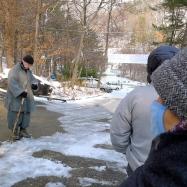 Bo Haeng Sunim organizes our outdoor walking meditation practice